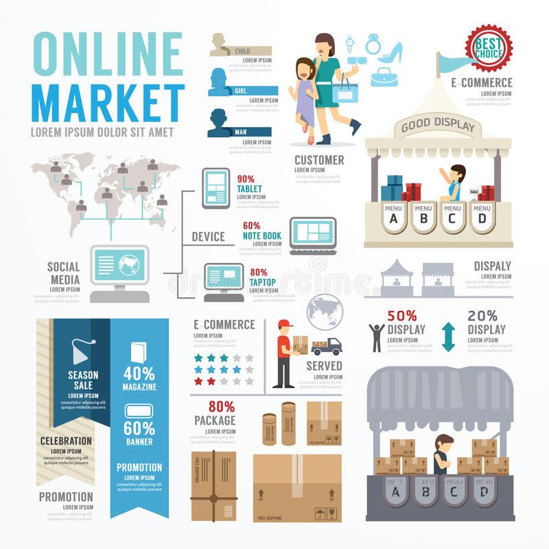 Business Market Online Template Design Infographic  Concept Stock - market template