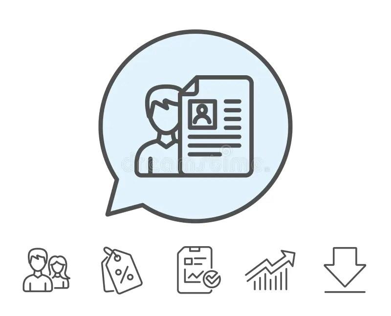Business Recruitment Line Icon CV Documents Stock Vector