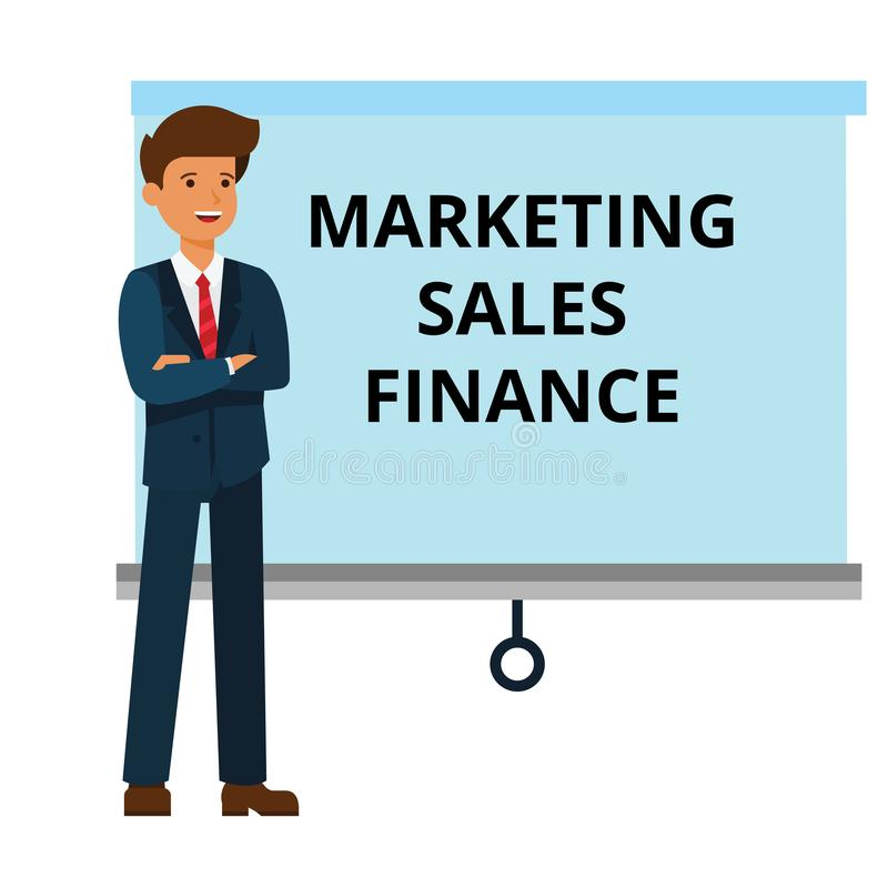 Businessman With Marketing, Finance, Sales Presentation Cartoon Flat