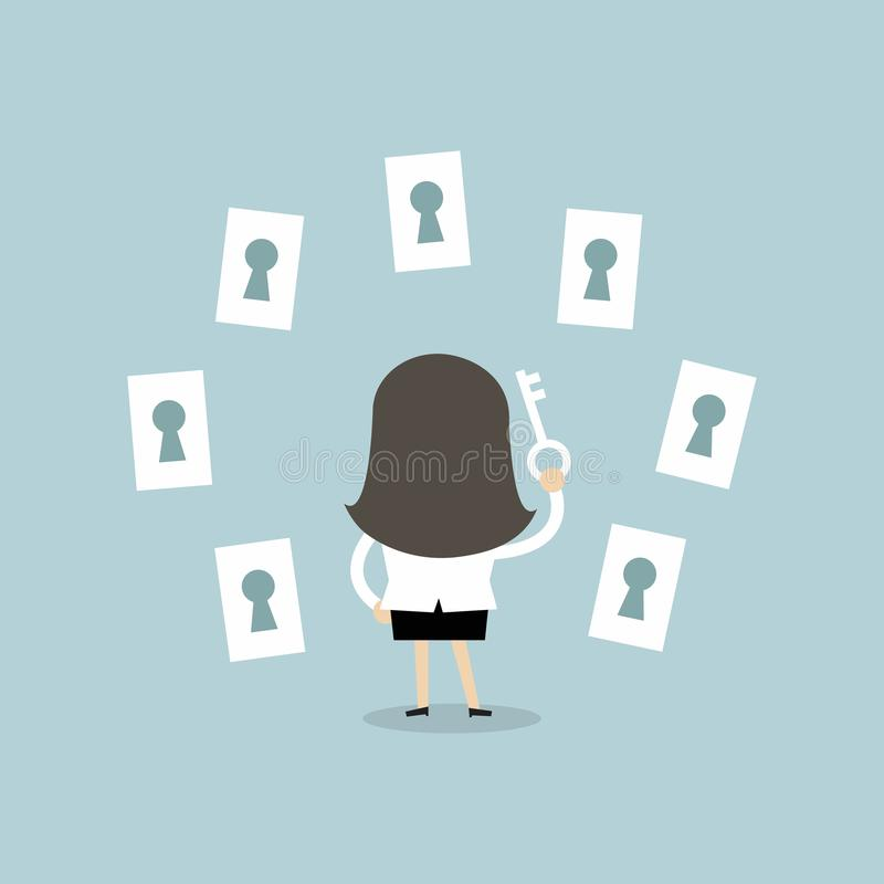 Businesswoman Choosing The Right Keyhole Stock Vector
