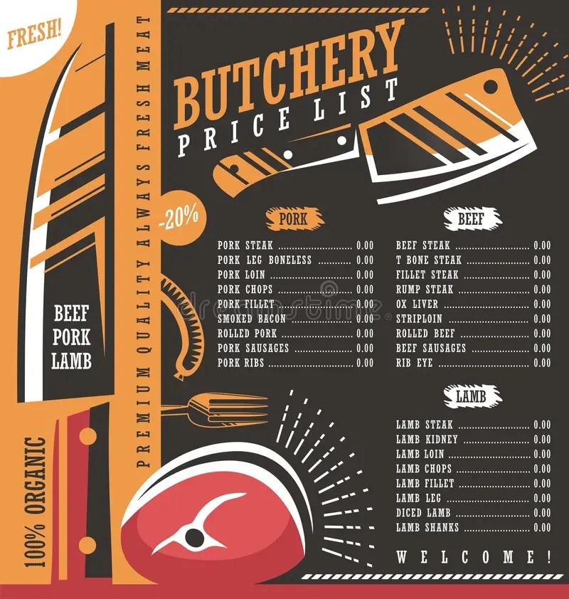 Butcher Shop Price List Design Stock Vector - Illustration of juice - price list design template