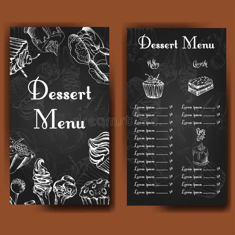 Cafe Design Template Hand Drawn Dessert Card Set Of Restaurant