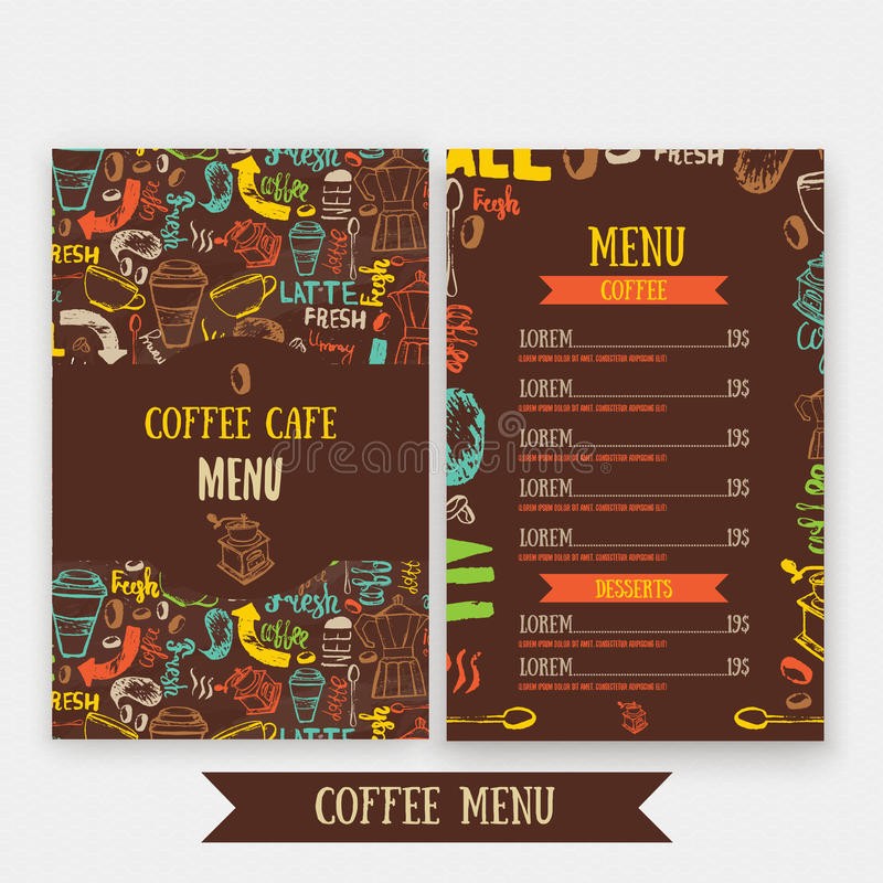 Cafe Menu Template Design With Lettering For Coffee Shop Hand Drawn - Cafe Menu Template
