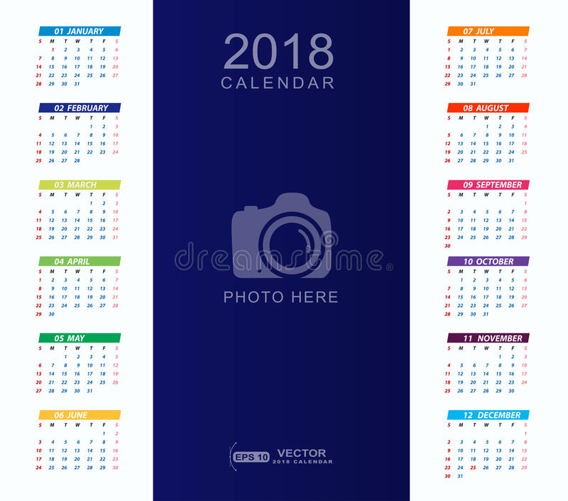 2018 Calendar Background With Place For Photo Stock Illustration - calendar sample design