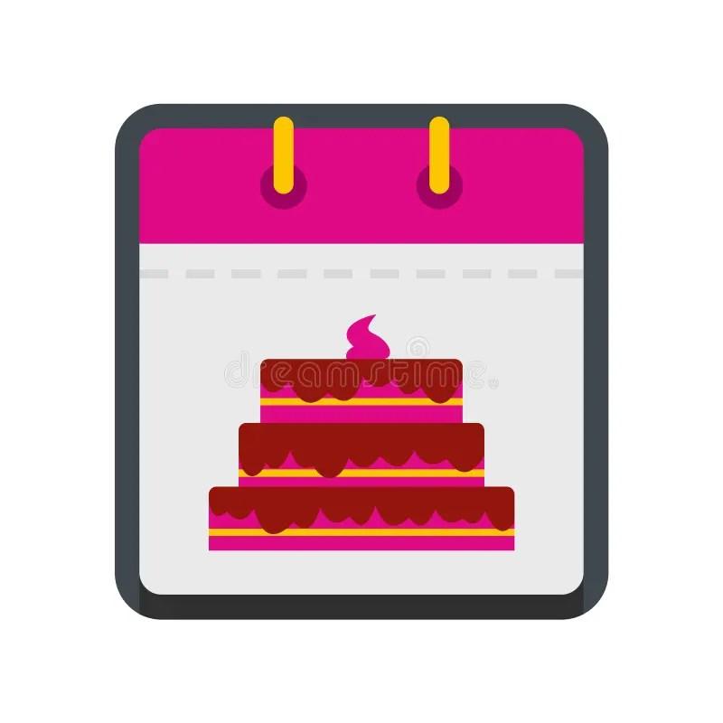 Calendar Birthday Icon, Flat Style Stock Vector - Illustration of
