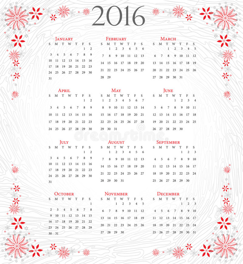 Calendar Of 2016 Full Year On Grey Artistic Background Stock Vector