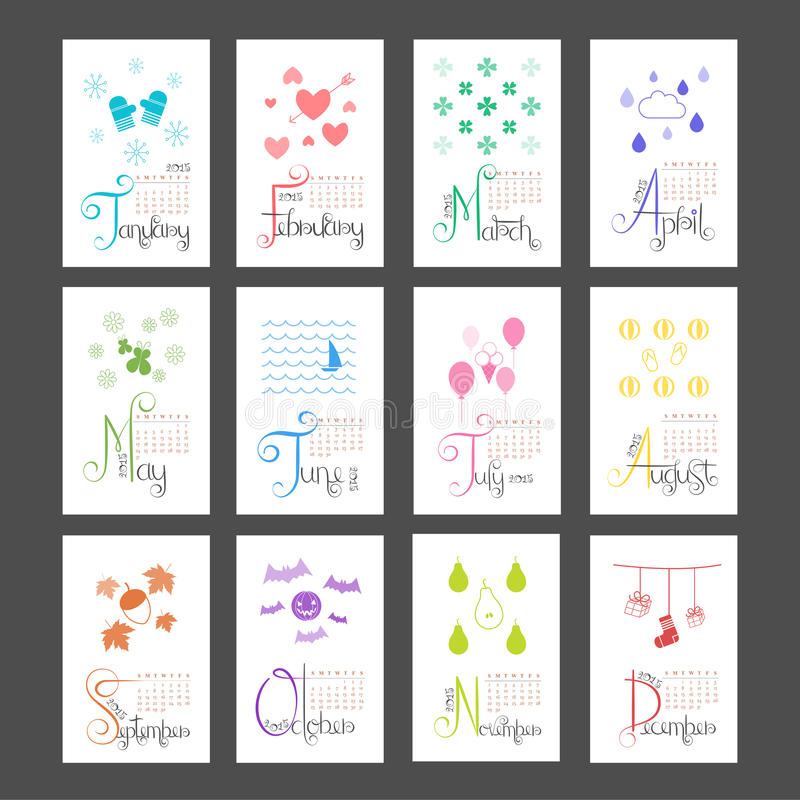 Month Calendar Vector Free Vector Art Graphics Calendar 2015 Mini Wall Lettering Monthly Sunday Start