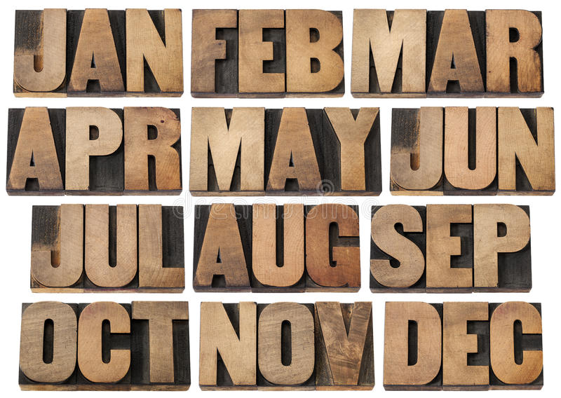 Calendar Months In Wood Type Stock Photo - Image of word, time 26899962