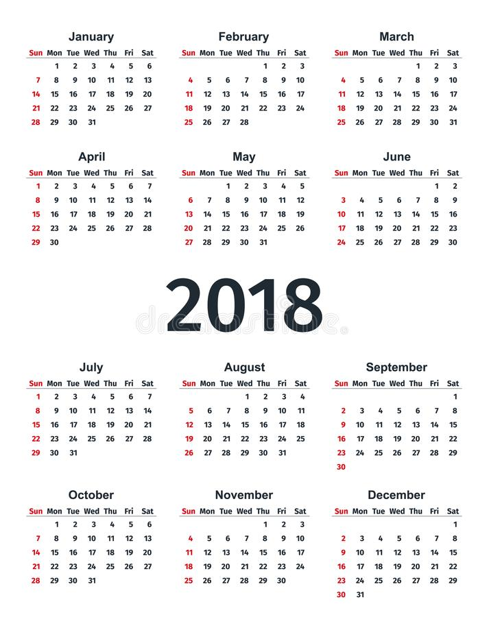 Calendar 2018 Year In Simple Style Vector Template Planner Stock