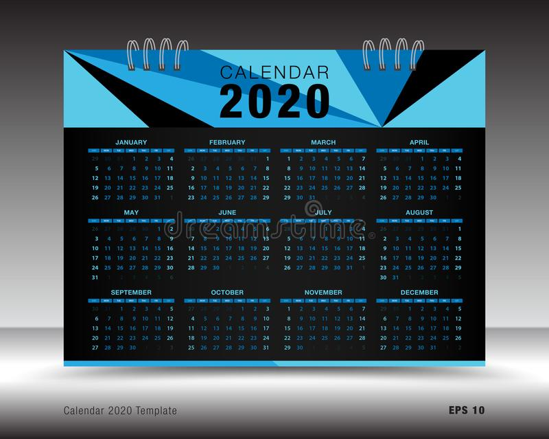 Calendar 2020 Template Layout, Blue Business Brochure Flyer, Print