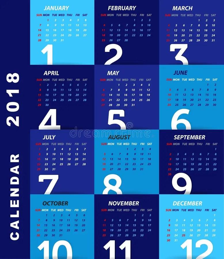 2018 Calendar Template,modern Design Stock Vector - Illustration of - calendar sample design