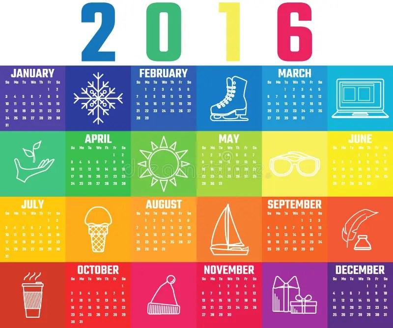 Calendar template 2016 stock illustration Illustration of icon - calendar template for website