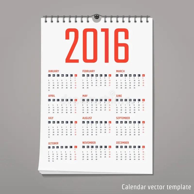 Calendar template 2016 stock illustration Illustration of event - calendar template for website
