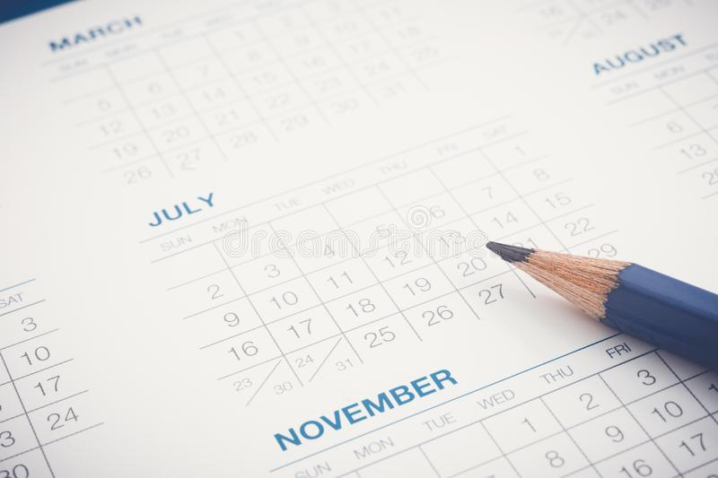 Calendar For Working Agenda Appointment Schedule Stock Image