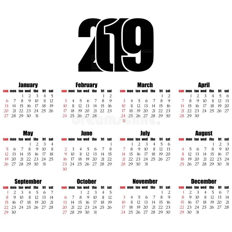 Calendar 2019 Year Flat Design, Simple Style Stock Vector