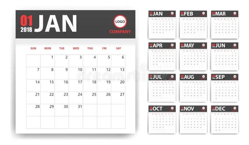 Calendario 2018 En Las Etiquetas Engomadas De Papel Con Estilo De La