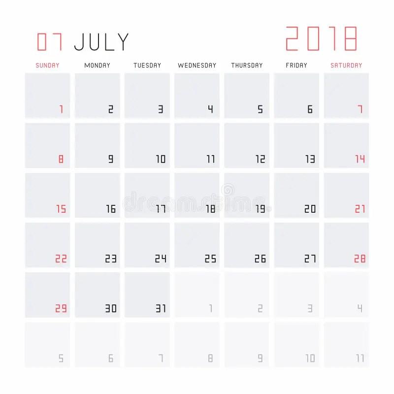 Calendario julio de 2018 ilustración del vector Ilustración de