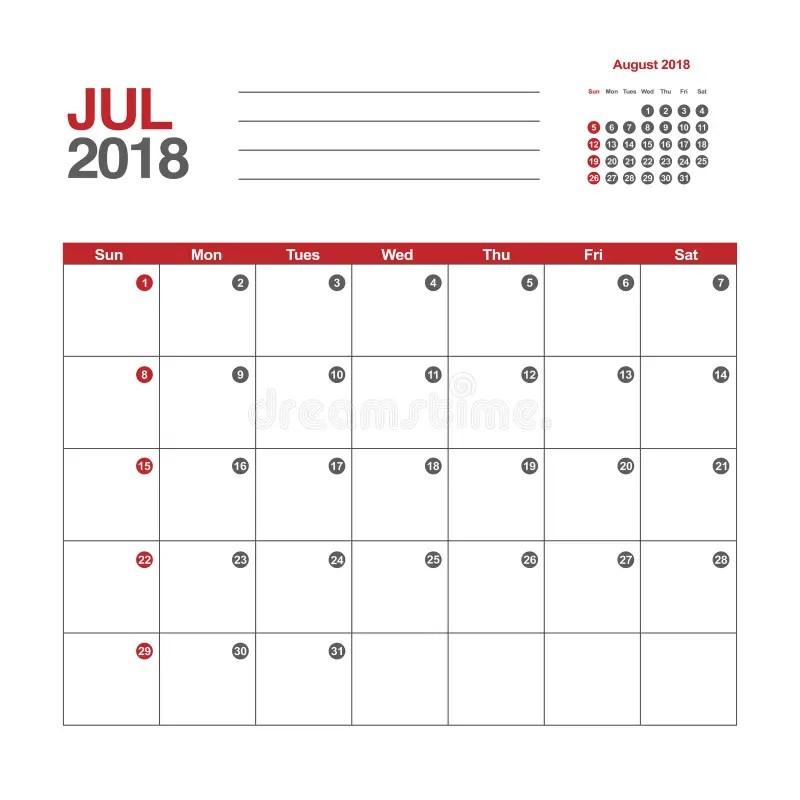 Calendario Para Julio De 2018 Ilustración del Vector - Ilustración