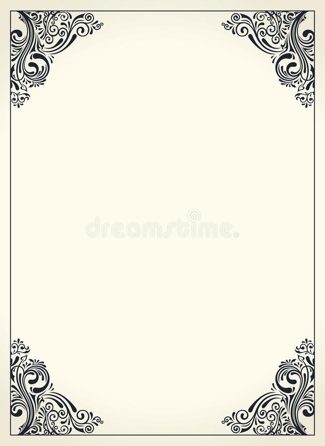 Calligraphic Border Frame Design Template For Wedding Greeting Card - wedding template