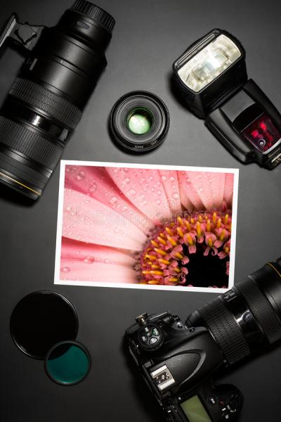 Camera Lens And Image On Black Background Royalty Free ...