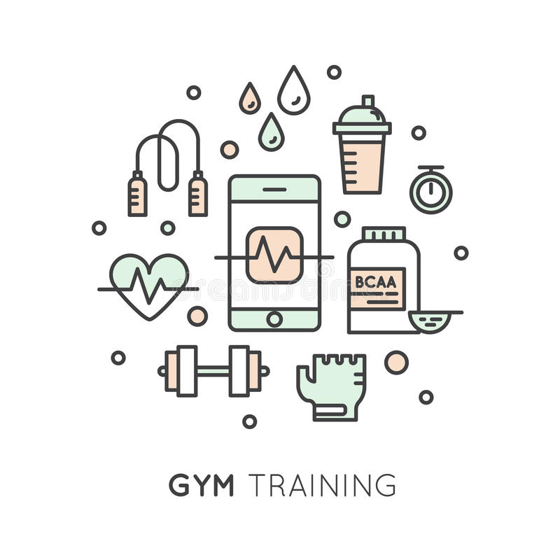 Cardio Training, Fitness And Gym Workout Object Stock Illustration - gym workout for weight loss