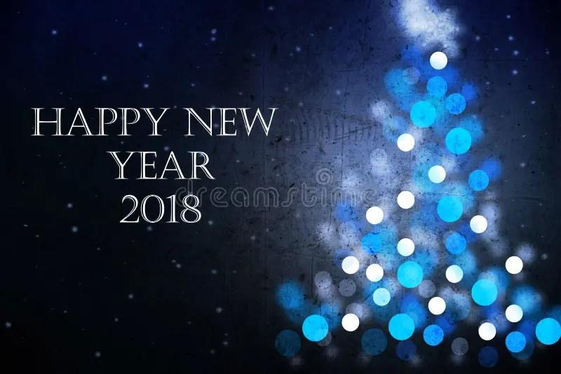 Cartão 2018 Do Ano Novo Feliz Com A Silhueta Azul Da árvore De Natal