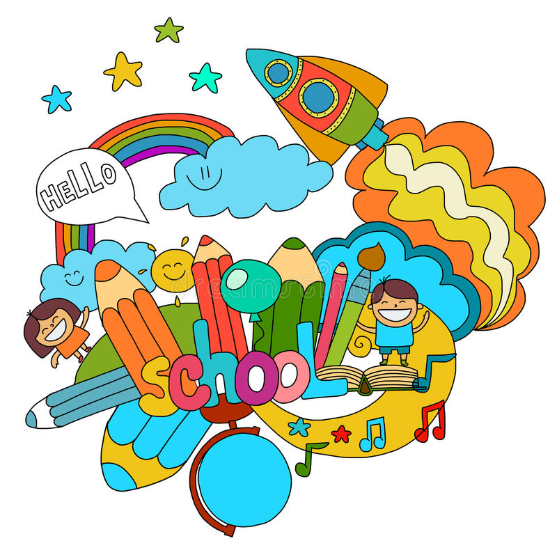 Cartoon children play stock illustration Illustration of pencil - cartoon children play
