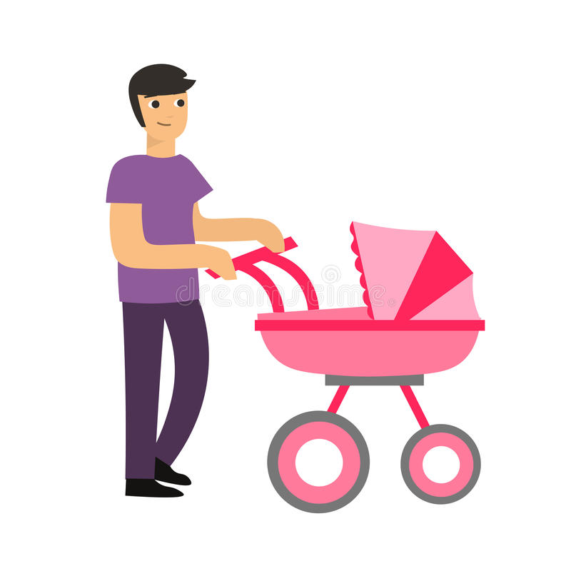Childcare Pram Cartoon Cute Dad With A Stroller Vector Stock Vector