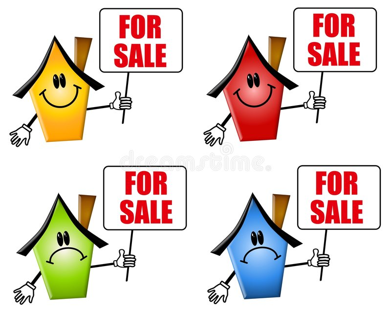 Cartoon Houses For Sale Signs Stock Illustration - Illustration of - sale signs