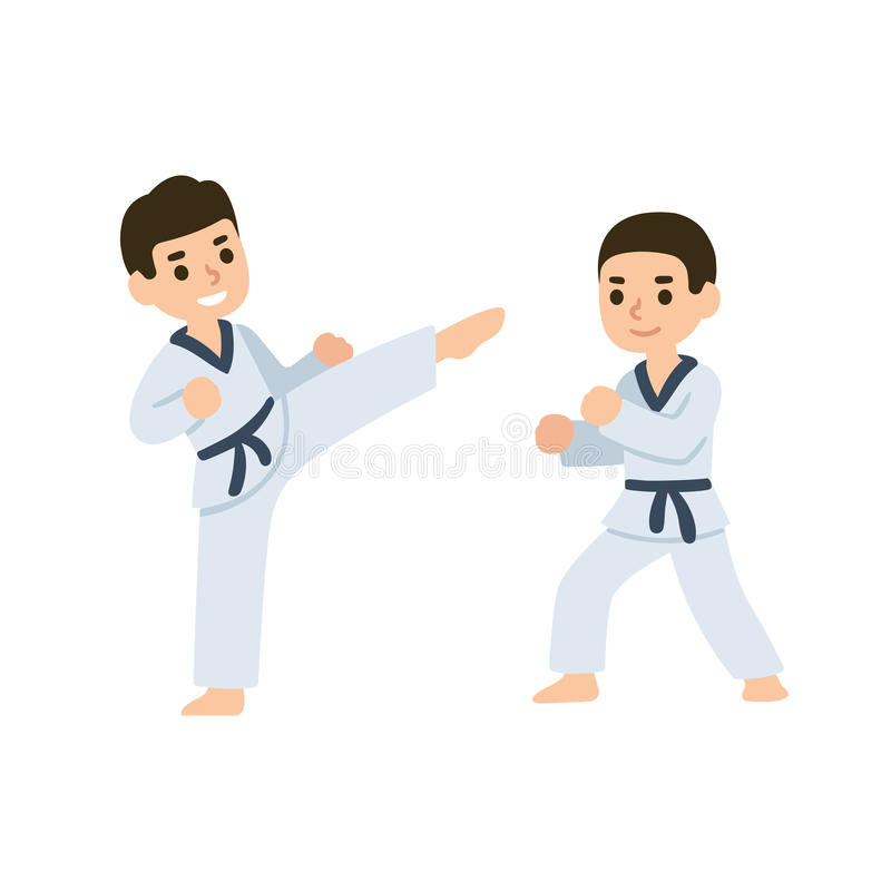 Cartoon kids martial arts stock vector Illustration of energetic