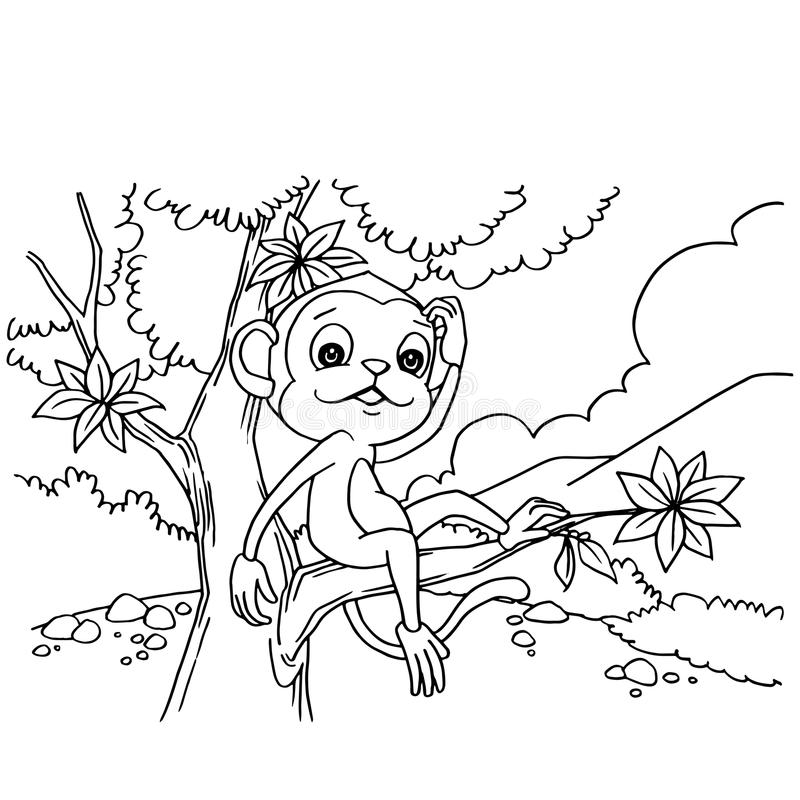 Cartoon Monkey Playing In The Forest Coloring Page Vector Stock