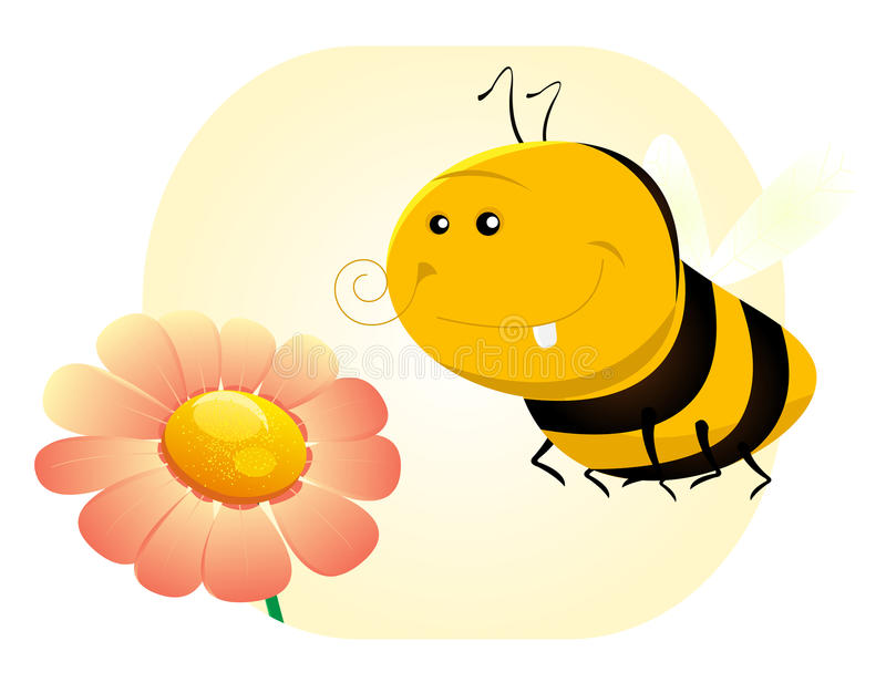 Cartoon SPring Or Summer Bee Stock Illustration - Illustration of