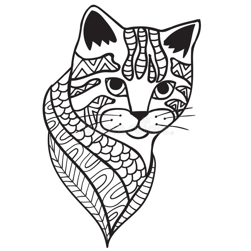 Cat Black And White Doodle Print With Ethnic Patterns