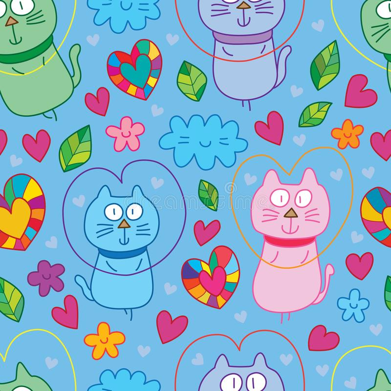 Cat Fly Love Cute Seamless Pattern Stock Vector - Illustration of
