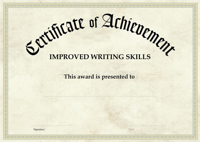 Certificate Of Achievement - Improved Writing Stock Illustration - certificate of achievement for students