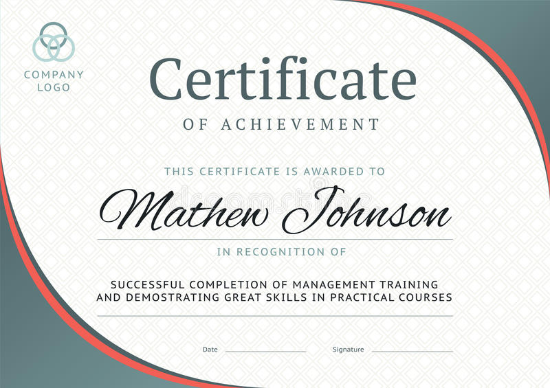 Certificate Of Achievement Template Design Business Diploma Stock - certificate of training template
