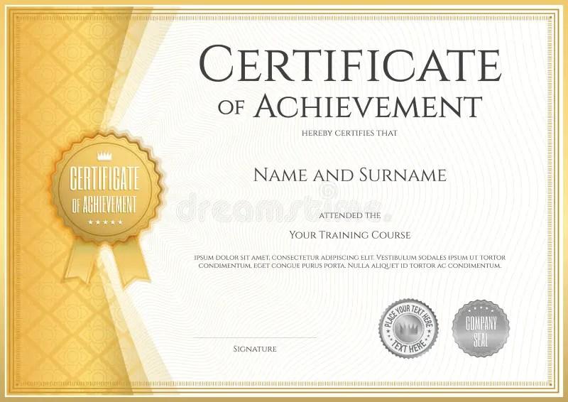 Certificate Of Achievement Template In Vector Stock Vector