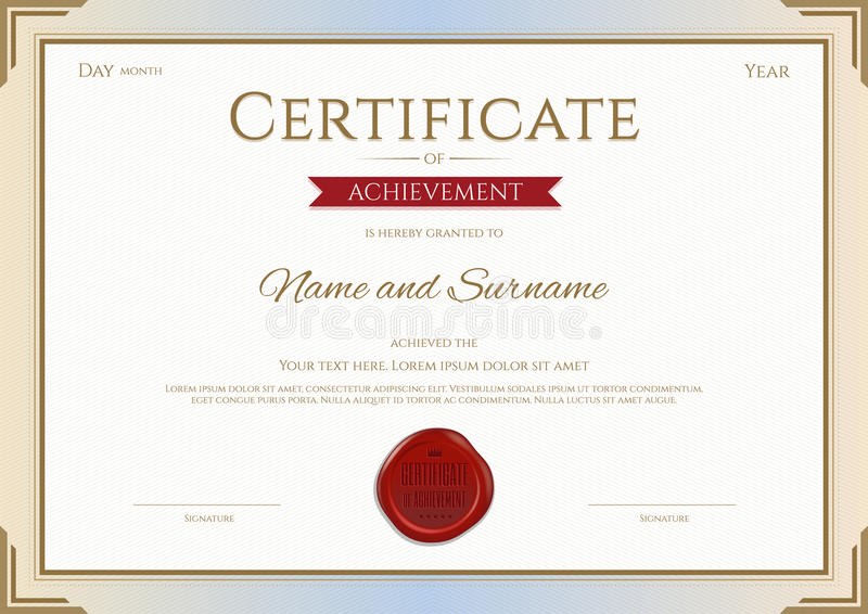 Certificate Of Achievement Template In Vector Gold And Red Stock