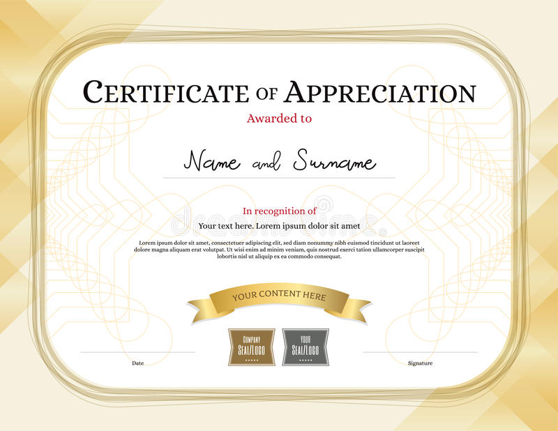 Certificate Of Appreciation Template With Award Ribbon Gold Tone - certificate of appreciation template