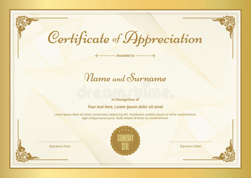 Certificate Of Appreciation Template With Gold Border Stock Vector - certificate of appreciation