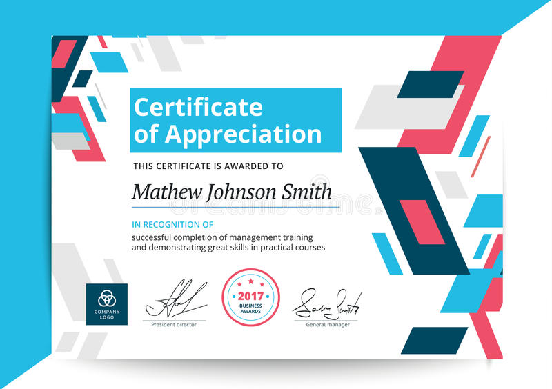 Certificate Of Appreciation Template In Modern Design Business - certificate of completion of training template
