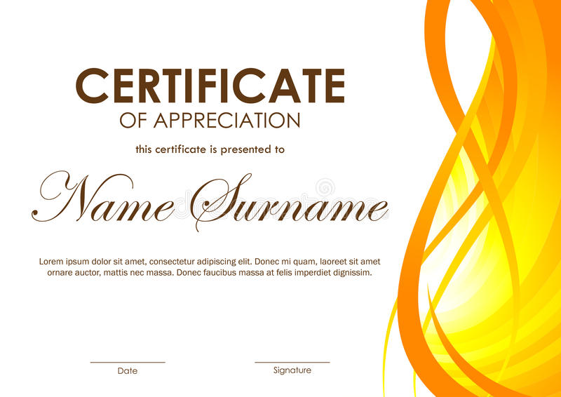 Certificate Of Appreciation Template Stock Vector - Illustration of - certificate of appreciation