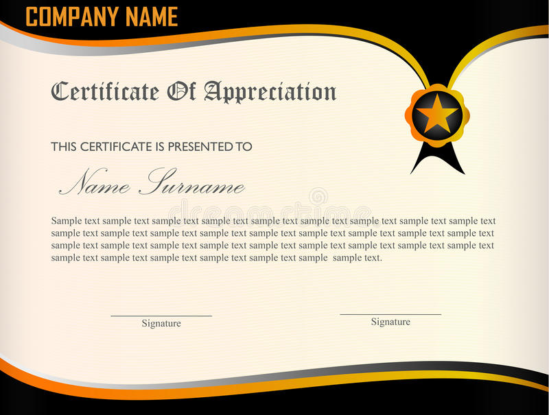 Certificate Appreciation Template Stock Vector - Illustration of - Sample Certificate Of Appreciation