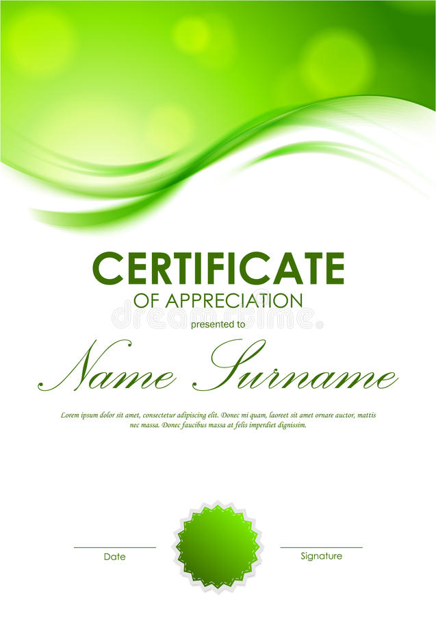 Certificate Of Appreciation Template Stock Vector - Illustration of