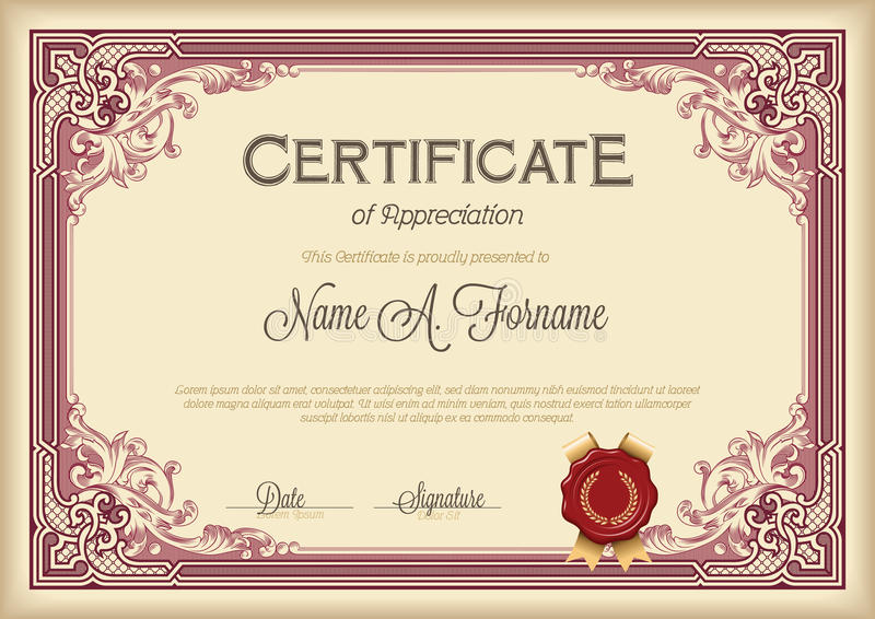 Certificate Of Appreciation Vintage Floral Frame Stock Vector - certificate of appreciation