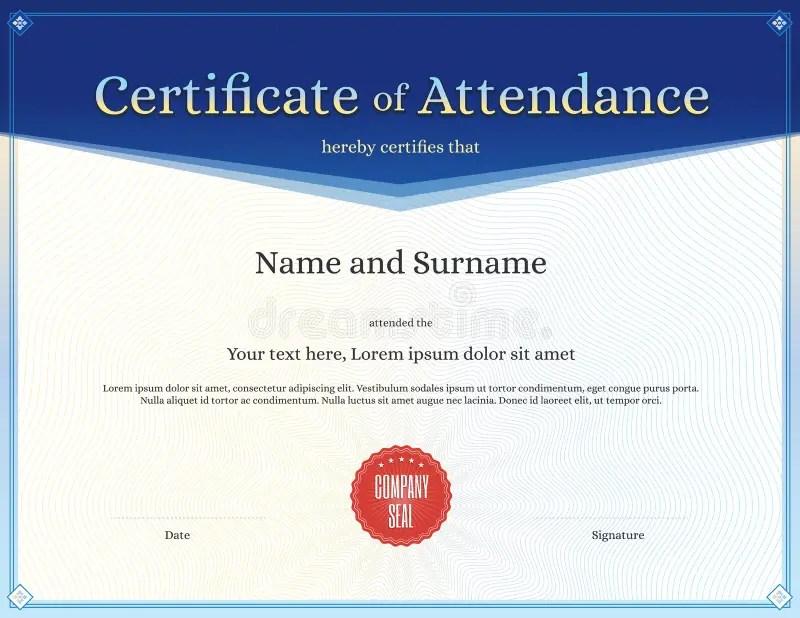 Certificate Of Attendance Template In Vector Stock Vector