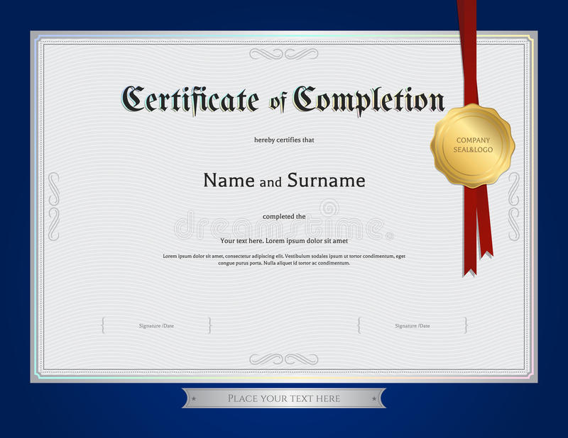 Certificate Of Completion Template With Blue Border Stock Vector