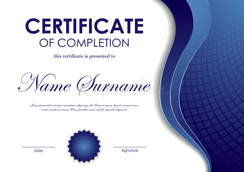 Certificate Of Completion Template Stock Vector - Illustration of