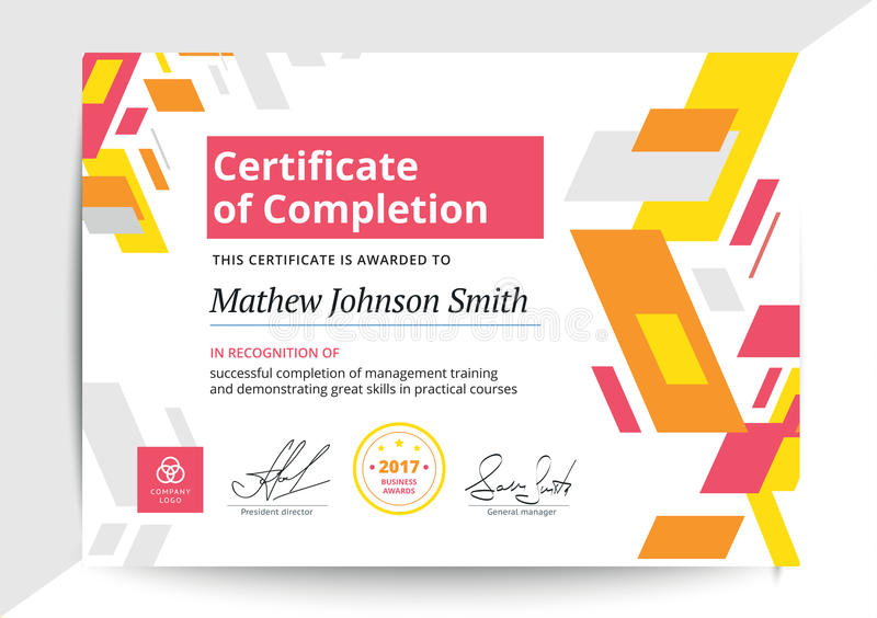 Certificate Of Completion Template In Modern Design Business Di - certificate of completion of training template