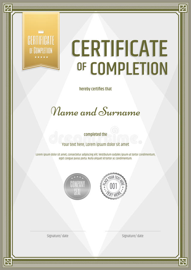 Certificate Of Completion Template In Portrait Stock Vector - certification of completion sample